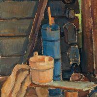 Pekka Halonen, A corner in the sauna, 1922