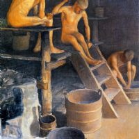 Pekka Halonen, In the sauna, 1925